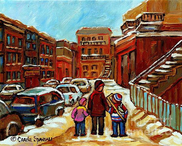 Paintings Of Baron Byng High School St Urbain A Winter Walk Down Memory Lane Montreal Art Carole  Print by Carole Spandau