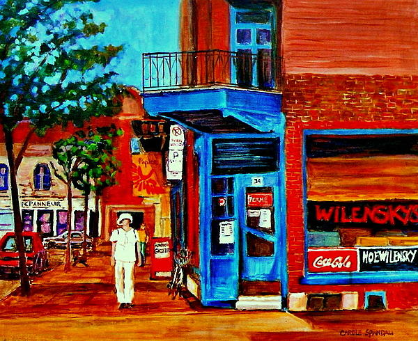 Paintings Of Montreal Memories Moe Wilenskys Famous Corner Deli  Montreal Spring City Scene Print by Carole Spandau