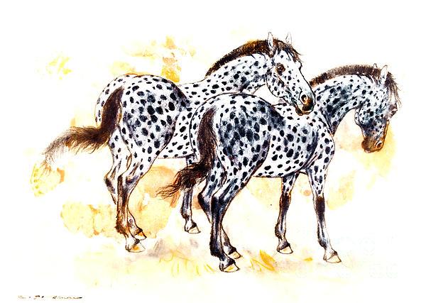 Pair Of Appaloosa Horses With Leopard Complex Print by Kurt Tessmann
