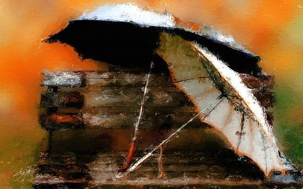 Pair Of Umbrellas Print by Robert Smith