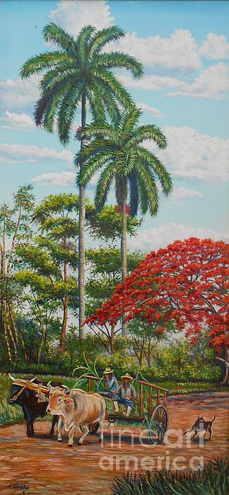 Paisaje cubano con Carreta de Bueyes Painting