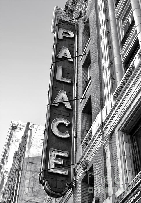 Palace Theater - Los Angeles - Black And White Print by Gregory Dyer