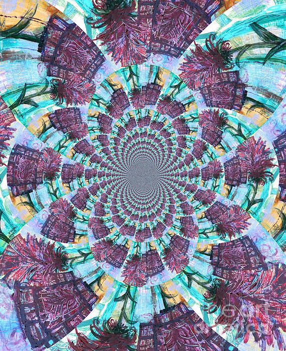Palette Knife Flowers Kaleidoscope Mandela Print by Genevieve Esson