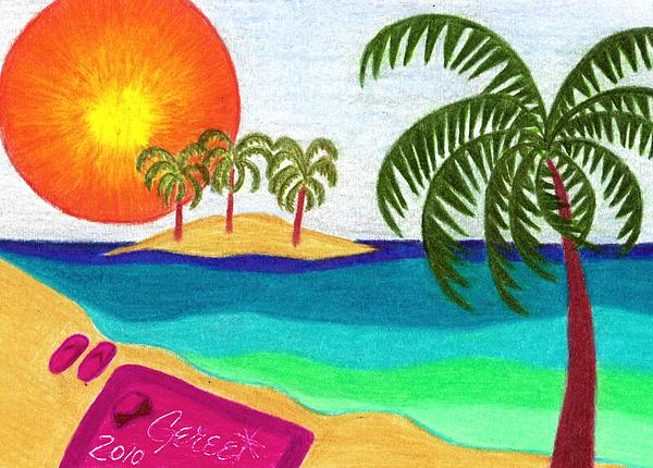 Palm Trees Across The Water Print by Geree McDermott