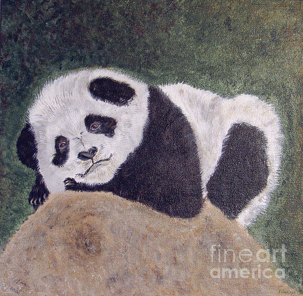 Panda Bear Sleepy Baby Cub Print by Ella Kaye Dickey