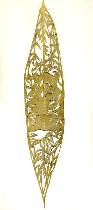 Panda On A Bamboo Leaf Print by Alfred Ng