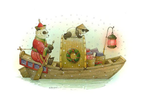 Pandabears Christmas Print by Kestutis Kasparavicius