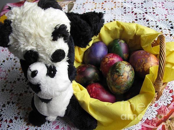Pandas Celebrating Easter Print by Ausra Paulauskaite