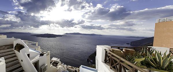 Panorama Greece Santorini 07 Print by Sentio Photography