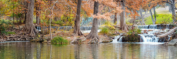 Panorama Of Guadalupe River In Hunt Texas Hill Country Print by Silvio Ligutti