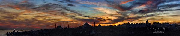 Panorama Of Istanbul Sunset- Call To Prayer Print by David Smith