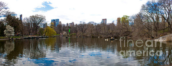 Panorama Of The Lake Of Central Park New York City Print by Thomas Marchessault