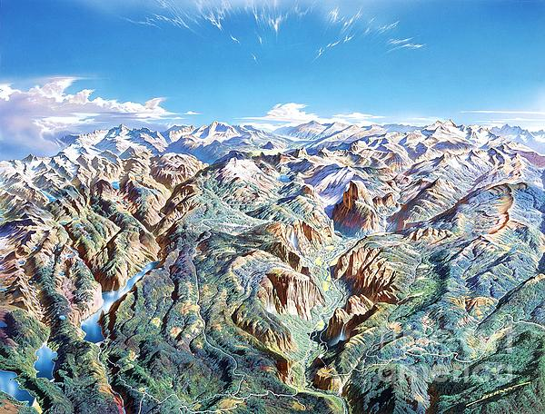 Panorama Of Yosemite Park Print by Pg Reproductions