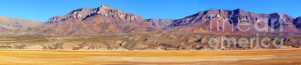 Panorama Sierra Caballo Mountains And Dry Lake Bed Print by Roena King