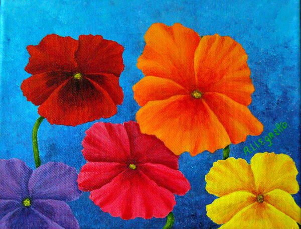 Pansies For Rosalina Print by Pamela Allegretto