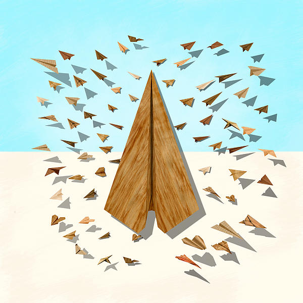 Paper Airplanes Of Wood 10 Print by YoPedro