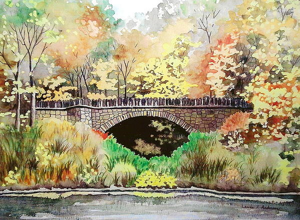 Parapet Bridge - Mill Creek Park Print by Laurie Anderson