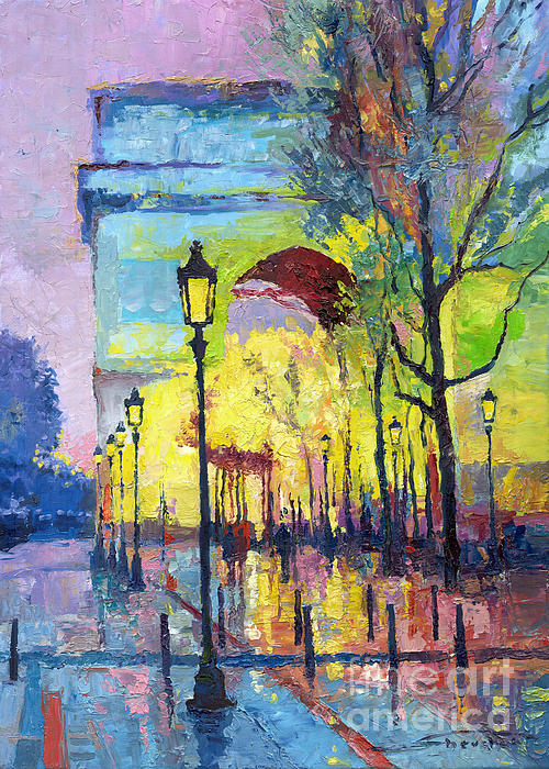 Paris Arc De Triomphie Print by Yuriy  Shevchuk