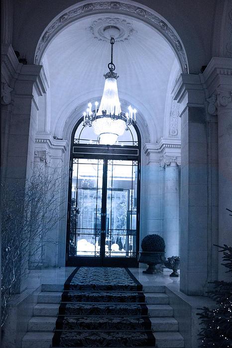 Paris Dreamy Blue Posh Hotel Interior Arch Entry With