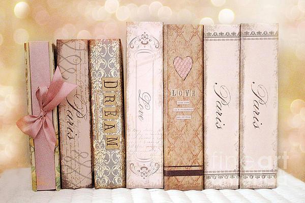 Paris Dreamy Shabby Chic Romantic Pink Cottage Books Love Dreams Paris Collection Pastel Books Print by Kathy Fornal