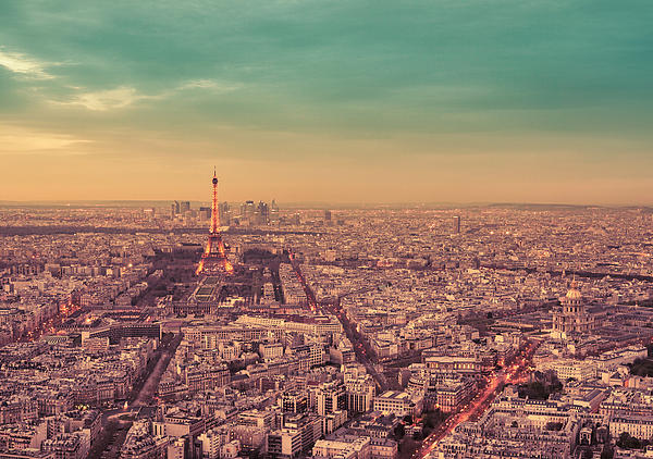 Paris - Eiffel Tower And Cityscape At Sunset Print by Vivienne Gucwa