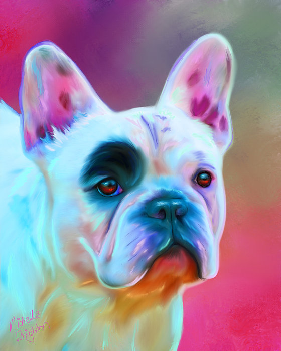 Vibrant French Bull Dog Portrait Print by Michelle Wrighton
