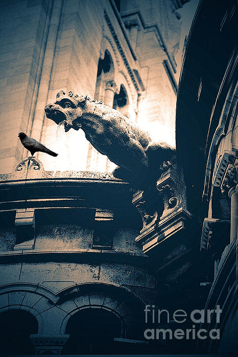 Paris Gargoyles - Gothic Paris Gargoyle With Raven - Sacre Coeur Cathedral - Montmartre Print by Kathy Fornal