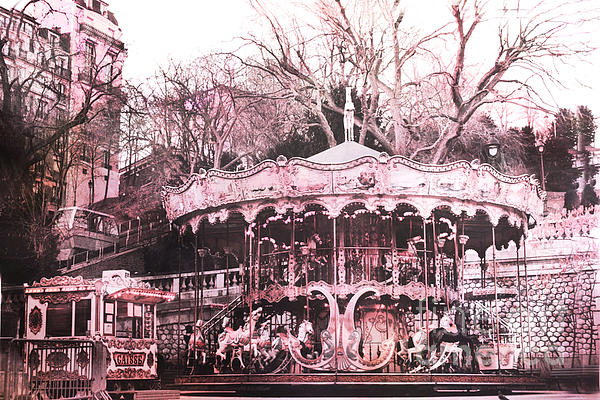 Kathy Fornal - Paris Pink Carousel Merry Go Round- Montmartre District Sacre Coeur