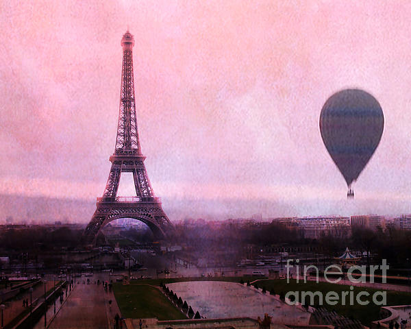 Kathy Fornal - Paris Pink Eiffel Tower With Hot Air Balloon - Paris Eiffel Tower Romantic Pink Art Deco