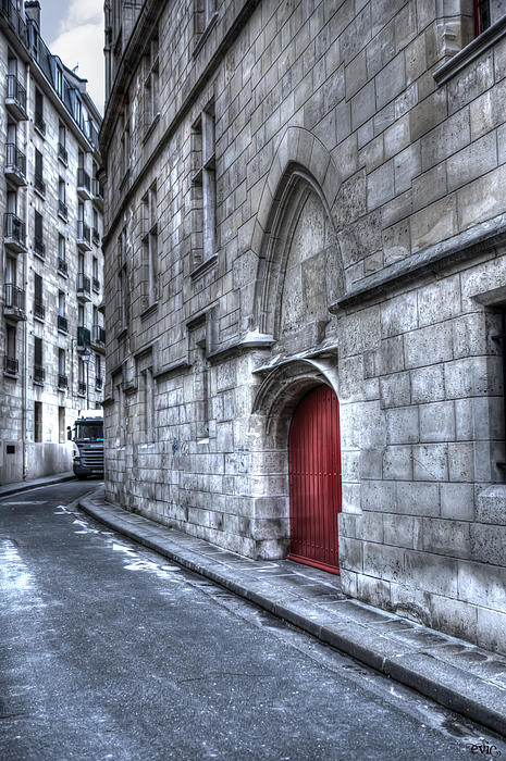 Paris Red Door Print by Evie Carrier