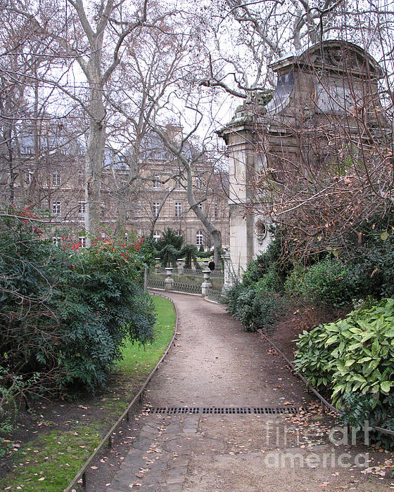 Paris Romantic Parks - Luxembourg Gardens - Medici Fountain Park - Pathway To Luxembourg Gardens Print by Kathy Fornal