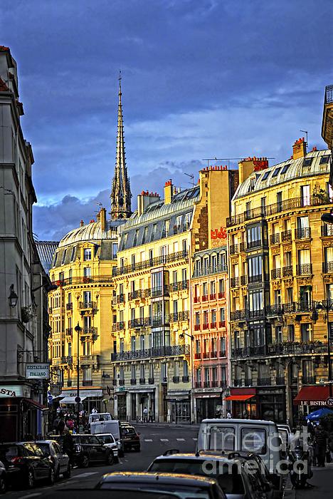 Paris Street At Sunset Print by Elena Elisseeva