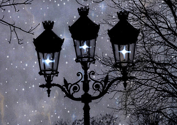 Paris Street Lights Lanterns - Paris Starry Night Dreamy Surreal Starlit Night Street Lamps Of Paris Print by Kathy Fornal