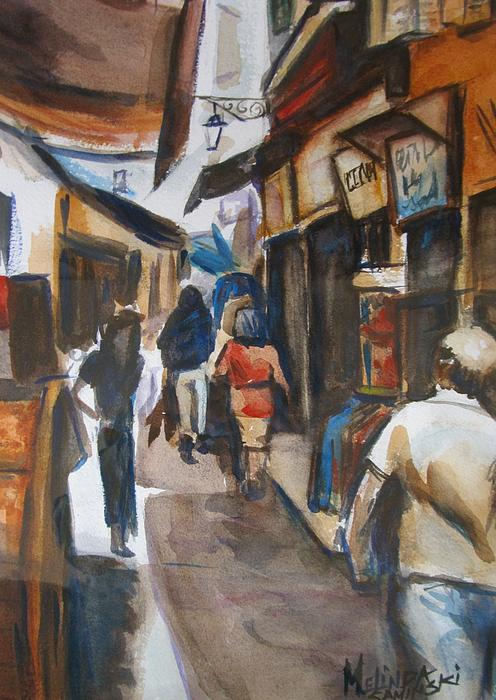 Paris Street Scene Print by Melinda Saminski