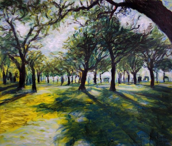 Park Trees Print by Ron Richard Baviello