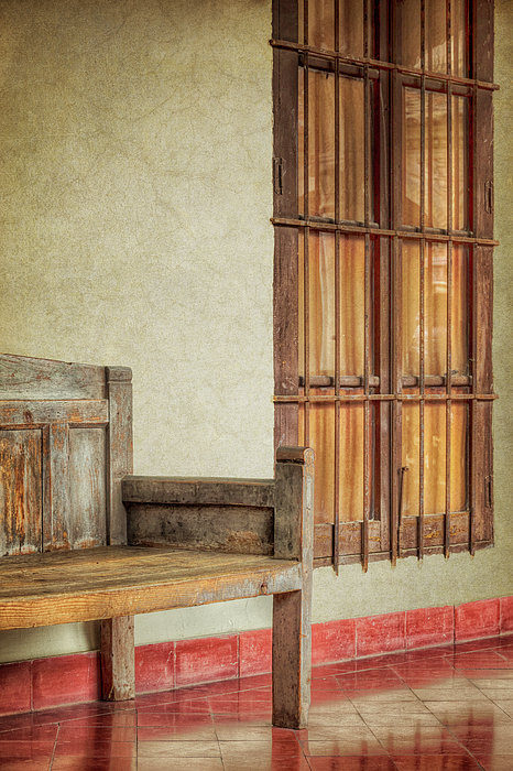 Part Of A Bench Print by Joan Carroll