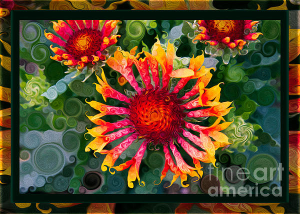 Passionate Pinwheels And Blooming Abstract Flower Art Print by Omaste Witkowski