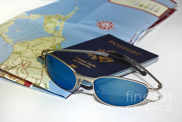 Passport Sunglasses And Map Print by Amy Cicconi