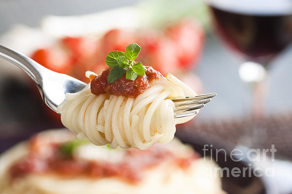 Pasta With Ingredients Print by Mythja  Photography