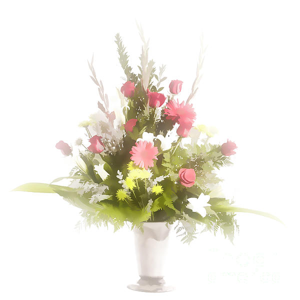 Pastel painting spring flower arrangement in color for Pastel colored flower arrangements
