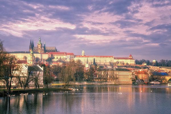 Pastel Prague Morning Print by Joan Carroll
