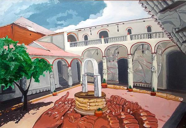 Patio Colonial Print by Lazaro Hurtado