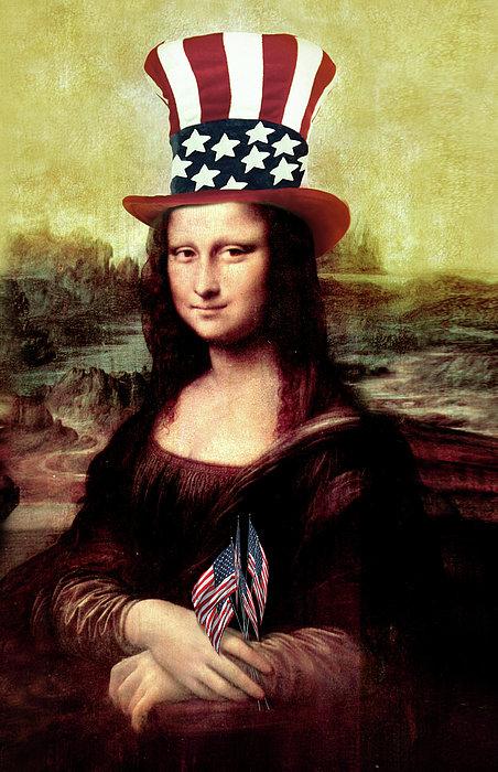 Patriotic Mona Lisa Print by Gravityx Designs