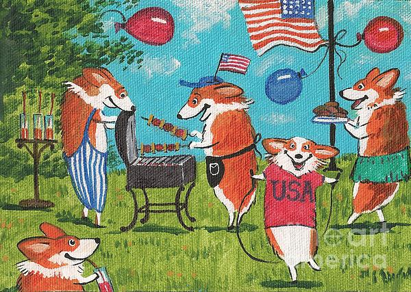 Patriotic Pups Print by Margaryta Yermolayeva