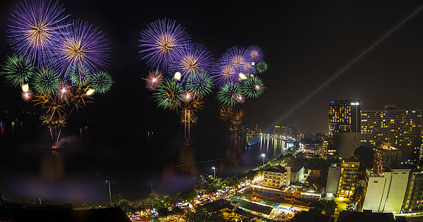 Pattaya Fire Work 2012 Festival Print by Anek Suwannaphoom