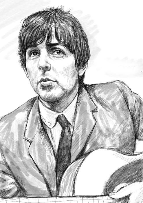 Paul Mccartney Art Drawing Sketch Portrait Print by Kim Wang