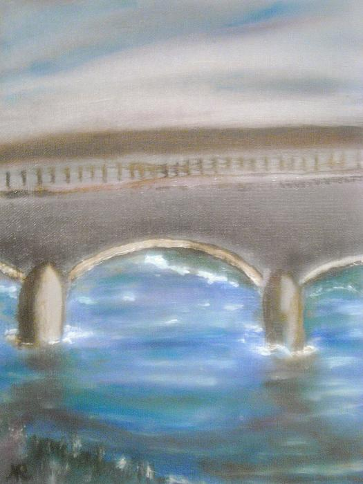 Pavia Covered Bridge - En Plein Air Painting Print by Nicla Rossini