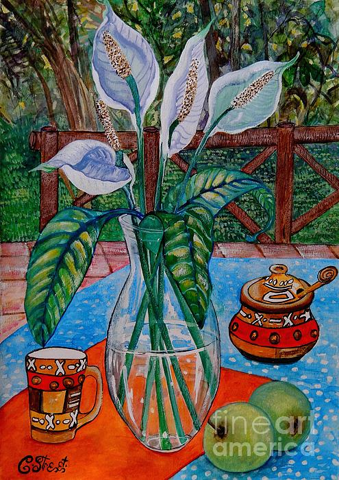 Peace Lilies On The Patio Print by Caroline Street