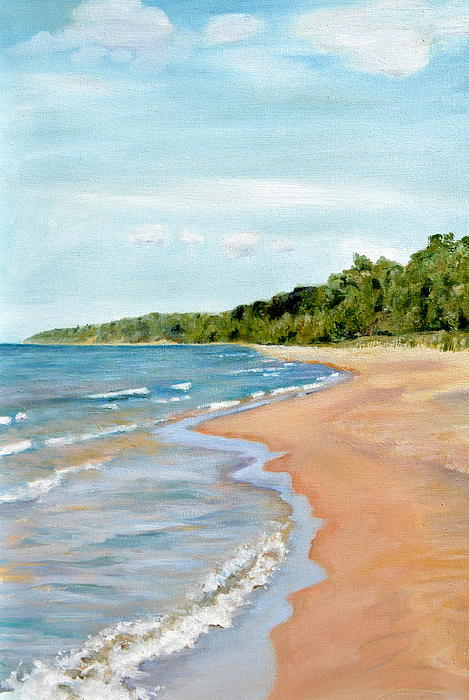 Peaceful Beach At Pier Cove Print by Michelle Calkins
