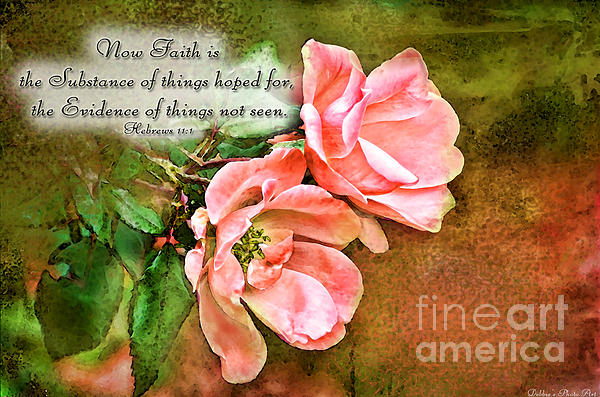 Peachy Keen With Verse  Print by Debbie Portwood